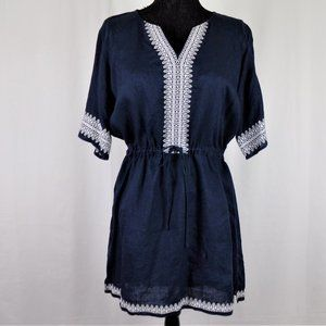 Beryl Garden Embroidered Linen Tunic Size Large